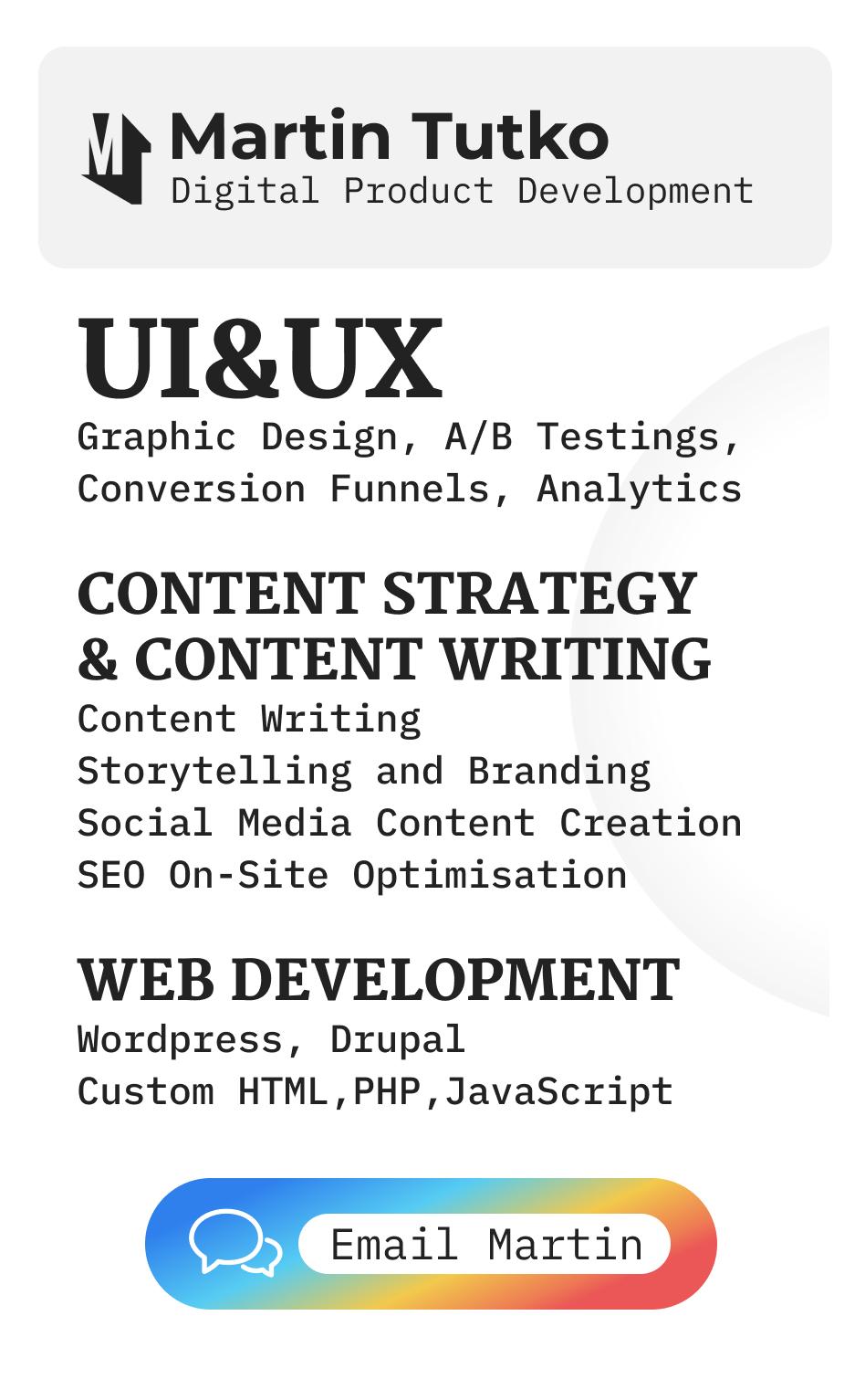 Martin Tutko - UX Design, Content Marketing